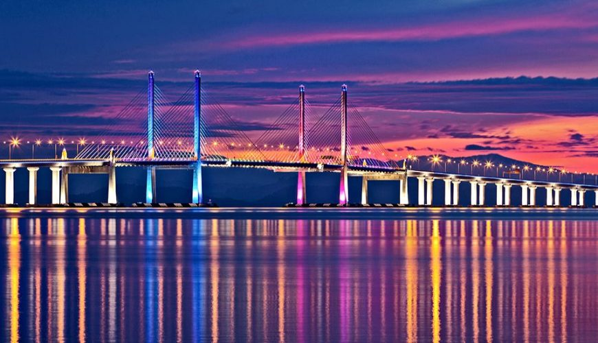 Beautiful Penang Bridge View in the Evening._Special of Malaysian Islands.