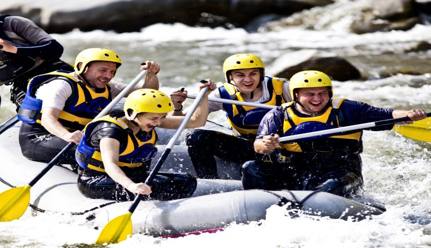 Happy People with Guide Whitewater rafting and Rowing on River_Bhote Koshi River Rafting of 2 Days